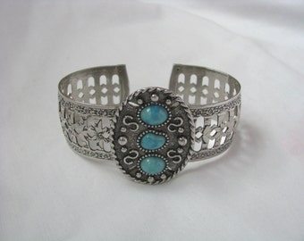 Faux turquoise & silver tone embossed cuff bracelet Indian Maiden Sarah Coventry