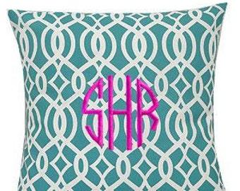 Pillow Cover Monogrammed Aqua Vine Print