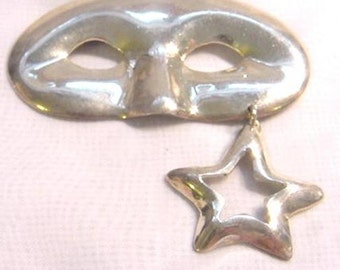 Sterling Silver Vintage Mardi Gras Pin Brooch with Dangling Star