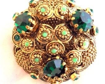 Unsigned Beauty - Vintagr Domed Layered Green Rhinestone Pin