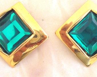 Bright Square Cut Emerald Green Crystal Earrings