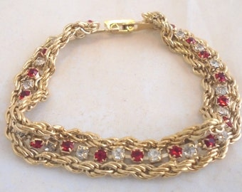 """Double Rope Bracelet w/ Red and Clear Rhinestones 7"""""""