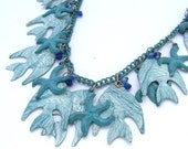 Vintage Bib Statement Necklace Fish Ombre Blue Jewelry, Summer Tropical Starfish Beach Charm Ocean Sea Chain Necklace
