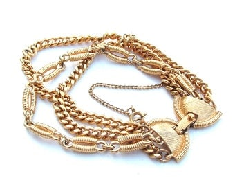 Designer MONET Chain Bracelet, Gold Tone Wrap Multi Strand Chain Butterfly Clasp Signed Women's Costume Jewelry