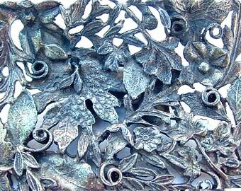 Vintage Shoe Clips Woodland Romantic Rustic Victorian Style MUSI Designer Nature Botanical Metal Filigree Garden Leaf Vine Floral