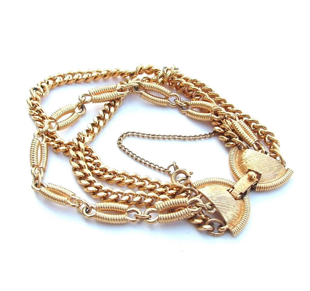 designer monet chain bracelet gold tone wrap multi by