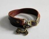 Leather Charm Bracelet Leather Wrap Bracelet Brown Color with Metal Bronze Tone Scooter Charm