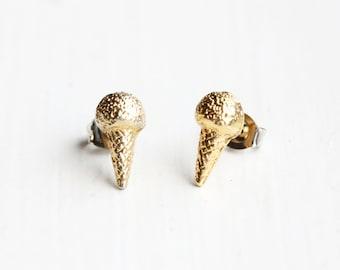 Small Gold Ice Cream Cone Studs