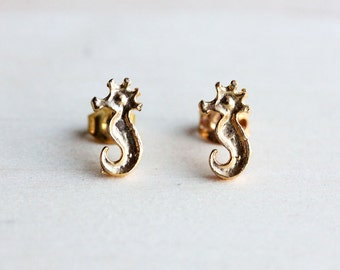 Little Gold Seahorse Studs