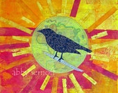 Crow Bird Art Print Fine Art Print of Original  Mixed Media Collage Balance
