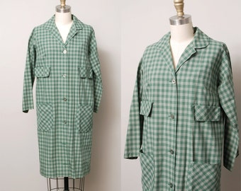 1950s Trench Dress - Olive Green Plaid Cocoon 50s Dress