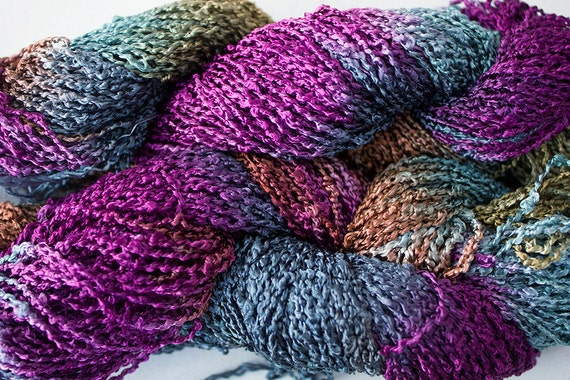 Boucle Yarn : Starlight, Hand dyed Rayon Boucle Yarn, 150 yds - Elderberry
