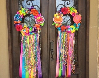Fiesta Wreath Double Whammy Wreaths Two Gala  San Antonio Style 18-22 inch no shipping if u pickup