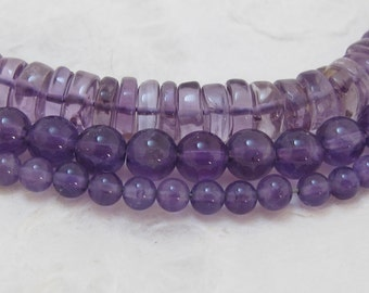 3 Different Strands of Natural Amethyst Beads - Package 105