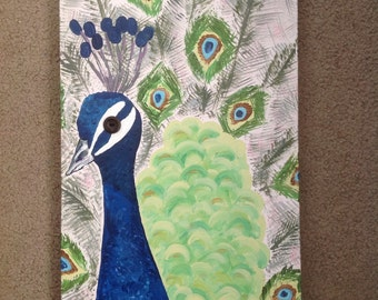 SALE! Whimsical realistic Peacock bird painting - peacock feathers - 10x20 acrylic on canvas - pop of color - living room, etc