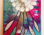 Keep on Dreaming Dreamcatcher Mixed Media Original 8x10 // Free Shipping in April