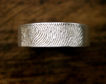 Finger Print Wedding Ring in Sterling Silver with Cool Matte Finish & Custom Text Engraving Size 9