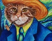 Custom Cat Portraits Cats in Clothes Oil Paintings Original Cat Art Vinnie van Cat by k Madison Moore
