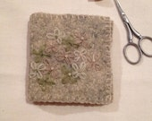 Lovely embroidered needle book with pages for your sewing needles all wool