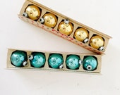 Fabulous Mid Century Mercury Glass Holiday Ornaments . In original boxes . aqua . gold . Petite Size