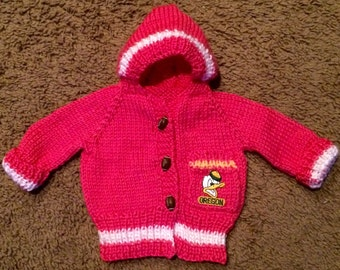 Hand knit Pink Oregon Ducks hooded baby Sweater Made to Order