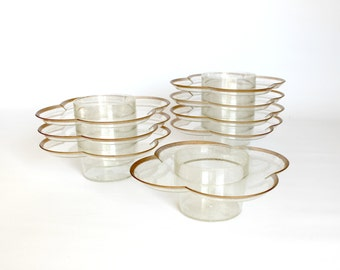 Vintage Hi Snack Plates Party Trays Set Mid Century Gold Glitter