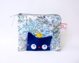 Blue Cat Coin Purse,Coin Purse,Cute Coin Purse,Change Purse,Cat Zipper Pouch,Floral,Purse,Small Change Purse - Curious Kitty