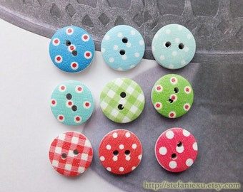 Wooden Buttons - Chic Swiss Dots Check Collection, Choose Color (6 in a set, D1.5CM)