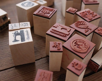 Wooden Rubber Stamp Set- Hot Air Balloon Eiffel Tower, Peace Dove From and To, Crafting Supplies (3 in a set, Choose Pattern)