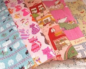 S069 Linen Fabric Scraps Bundle Set-Natural Blue Pink Black Cat White House Village Colourful Rainbow Cats Animals(5PCS, 9x9 Inches)