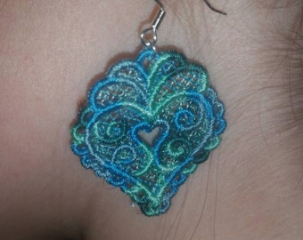 Free standing lace earrings in light blue and green