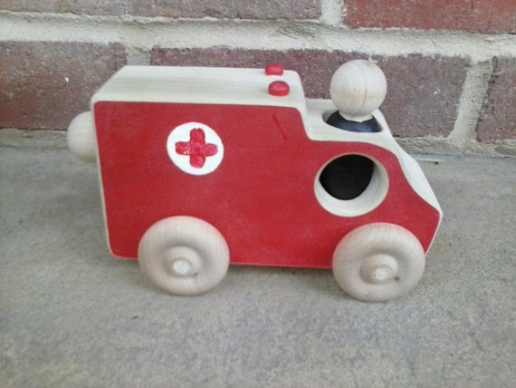 Wooden Toy Ambulance - a fire & rescue truck fire truck fire engine police car emergency vehicle