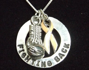 Uterine Cancer Awareness, Peach Awareness Ribbon, Cancer Jewelry, Peach Ribbon Jewelry, fighting back
