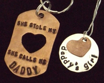 Father Daughter set, Daddy Daughter set, Daddy's Girl necklace, She stole my heart, Father's Day gift
