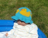 Instant Digital File pdf download knitting pattern Baby and Child Rubber Duck Sun Hat knitting pattern
