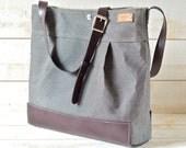 Waterproof Large Messenger Bag / Diaper bag / Travel bag / black gray striped  dark plum Leather straps/ Crossbody bag / Large purse / Tote