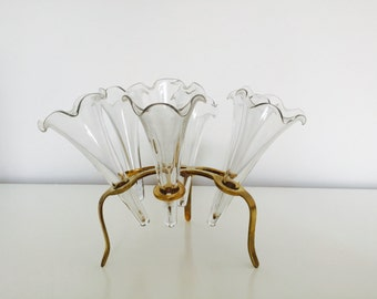 GLASS & BRASS. Unique Vintage Centerpiece - Six Bud Vases in Brass Stand / Holder - Hollywood Regency or Shabby Chic