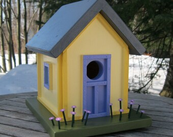 Birdhouse, Donette's Cottage, Two-tone Yellow with Blue Door