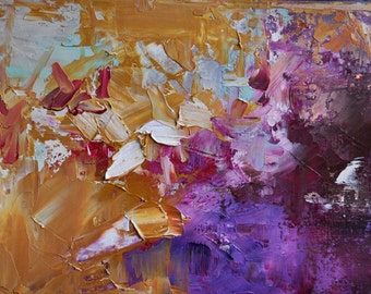 Original Abstract Painting Yellow Purple Wall Art Modern Textured Oil Painting 9x7""