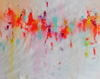 Original Abstract Painting XXL Textured Large Art Colorful Bright Orange Pink White UNSTRETCHED Rolled in a tube 27x79""