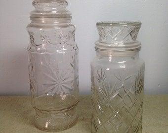 Vintage Glass Planters Peanut Jar Pair