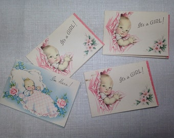 Vintage Baby Announcement Cards 4- Its a Girl, I'm Here Tiny cards
