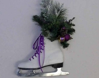 Pretty Purple Recycled Figure Skate Wall Hanging