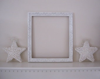 New Price...FRAME, Shabby Chic Frame, White Frame, Solid Wood Frame, Distressed Frame, Ornate Frame for Wedding Picture, Mirror, Chalkboard