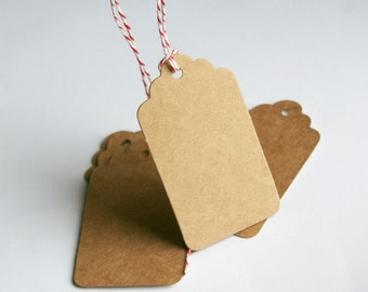 Rectangular Tag, kraft cardstock, scalloped, hole for hanging - for Christmas gifts, scrapbooking, gift tags, garland, stamping, altered art