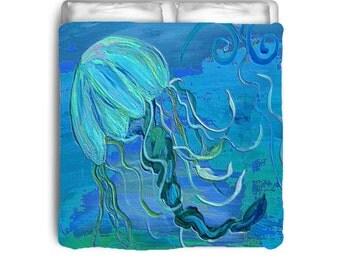 Jelly fish art comforter from my art