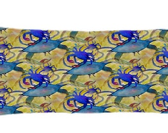 Sandy Blue Crab Party coastal body pillow case from my art