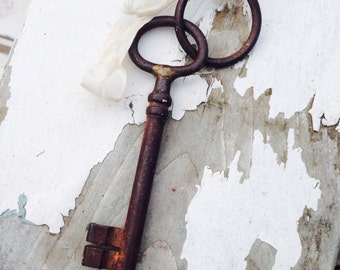 Skeleton Key, France, Gate Key. Antique
