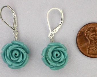 Carved Stone Rose Earrings in Turquoise