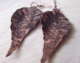 Copper Leaf Earrings, Copper Earrings, Boho Earrings, Leaf Earrings, Copper Leaves, Leaf Shaped Earrings, Antiqued Copper, Boho, Copper